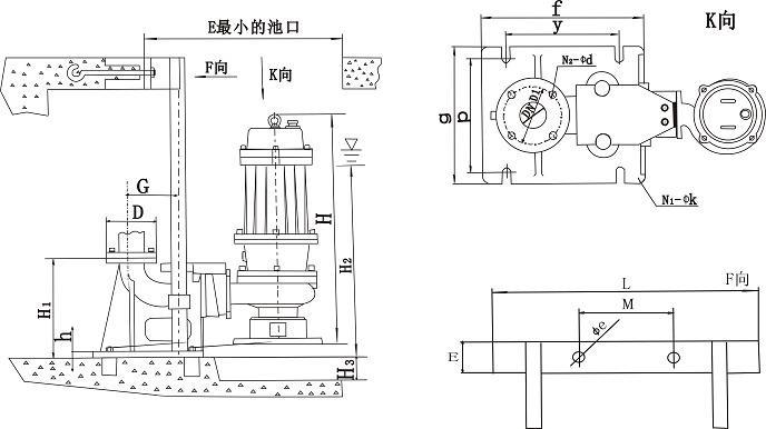 qw,wq型潜水排污泵安装尺寸图