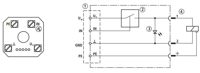 """端子 """"U+"""" (24 V) 和 """"⊥"""" (GND) 上的工作电压 1 连接端子 端子 """"IN"""" 和 """"⊥"""" (GND) 上的控制电压 2 电子开关 端子 """"PE"""" 上的保护接地 3 状态指示 LED 4 线圈触点 Rexroth力士乐VT-SSV-1-2X插入式切换放大器适用于通过低控制功率信号控制直流线圈操作转换阀的工作状态;可以直接通过开环控制的开关输出信号驱"""